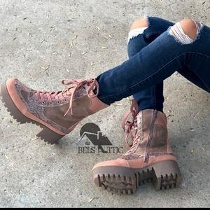 Pink camo combat boots